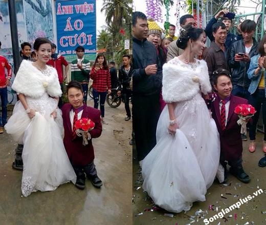 Hình ảnh Quý và Cẩm Giang trong đám cưới hôm 24/02 vừa qua. (Ảnh: Songlamplus.vn)