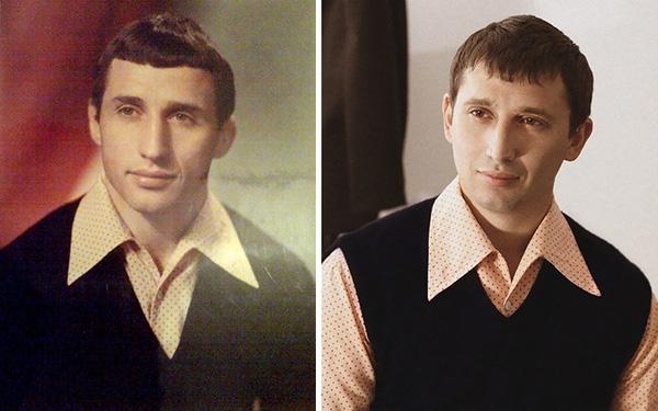 Hai bố con được chụp ở cùng một độ tuổi, trang phục cũng giống nhau. (Ảnh: Boredpanda)