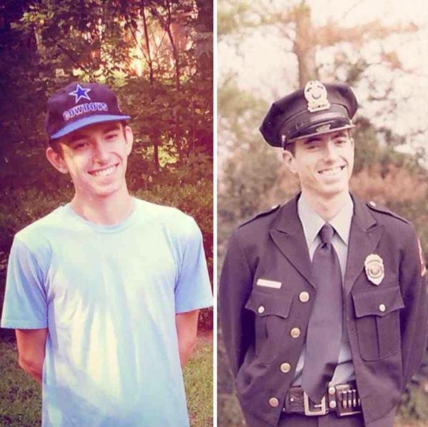 Ở độ tuổi 20, trông hai bố con hệt như hai giọt nước. (Ảnh: Boredpanda)