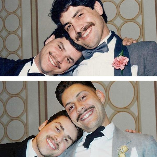 """Chủ nhân bức ảnh chia sẻ: """"Ảnh trên là bố tôi cùng bạn ông vào 30 năm trước và ảnh dưới là tôi cùng con chú ấy ở hiện tại"""". (Ảnh: Boredpanda)"""