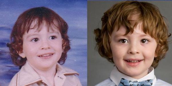 """""""Con trai tôi (bên phải) và tôi (bên trái) vào lúc được 3,5 tuổi"""". (Ảnh: Boredpanda)"""