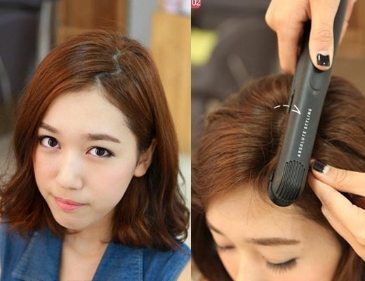 Kéo tóc từ vị trí cách phần chân 1-2cm sẽ an toàn cho da đầu và giúp tóc phồng hơn. (Ảnh: Internet)