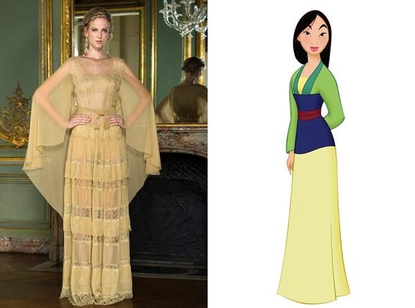 Trong bộ sưu tập Thu - Đông 2015, nhà mốt Carolina Herrera mang đến nhiều thiết kế với nguồn cảm hứng từ công chúa Disney. Đây là mẫu váy được lấy ý tưởng dựa trên hình ảnh, trang phục của Mulan.