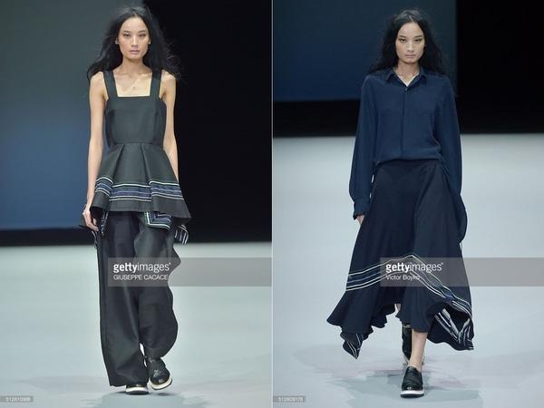 Trong khoảng thời gian diễn ra Tuần lễ Thời trang Milan Thu - Đông 2016 này, nàng thơ của nhà thiết kế Đỗ Mạnh Cường tiếp tục phủ sóng các sàn diễn. Hôm qua (27/2), Lê Thúy chính thức sải bước trong show diễn của thương hiệu Ujoh. Nữ người mẫu được diện hai thiết kế với tông đen huyền bí, mạnh mẽ.