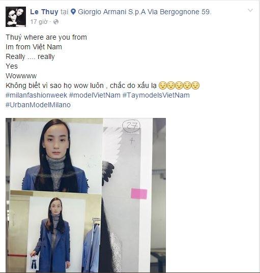 """Trên trang cá nhân, Lê Thúy chia sẻ khi phía thương hiệu biết được cô là người mẫu Việt Nam thì họ đã phải trầm trồ, ngạc nhiên rất nhiều. Nữ người mẫu cho rằng có lẽ vẻ ngoài """"xấu lạ"""" của cô đã khiến họ phải ấn tượng như vậy."""
