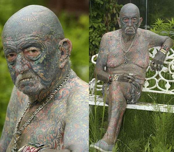 Chân dungcụ Tommy Wells với 1000 hình xăm phủ kín khắp cơ thể. (Ảnh: Internet)