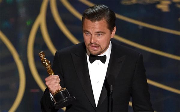 Leonardo Dicaprio phát biểu khi nhận giải nam diễn viên chính xuất sắc nhất. (Ảnh: Internet)