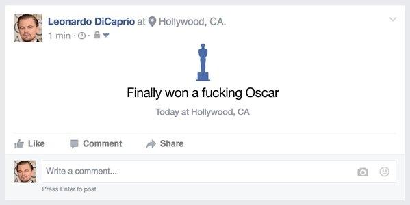 """""""Cuối cùng cũng giành được cái giải Oscar chết tiệt rồi."""" (Ảnh: Internet)"""