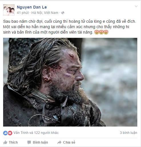 """Nữ diễn viên Đan Lê chia sẻ cảm xúc khi """"chàng hoàng tử"""" Leonardo DiCaprio thắng giải Oscar. - Tin sao Viet - Tin tuc sao Viet - Scandal sao Viet - Tin tuc cua Sao - Tin cua Sao"""