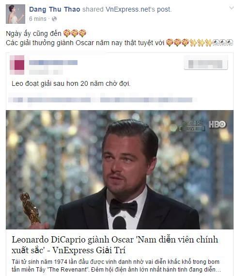 Đồng thời, hoa hậu Việt Nam 2012 - Đặng Thu Thảo cũng vui mừng reo hò trên trang cá nhân của cô khi Leonardo DiCaprio được xướng tên nhận giải Oscar danh giá. - Tin sao Viet - Tin tuc sao Viet - Scandal sao Viet - Tin tuc cua Sao - Tin cua Sao