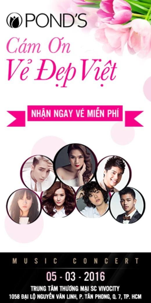 """""""Pond's – Cám ơn vẻ đẹp Việt"""" sẽ mang đến một bữa tiệc âm nhạc hoành tráng để chào mừng ngày Quốc tế phụ nữ 8/3 sắp tới."""