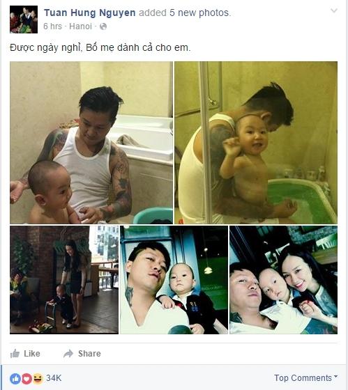 """Tuấn Hưng đăng tải hình ảnh trên trang facebook cá nhân với dòng chú thích: """"Được ngày nghỉ, Bố mẹ dành cả cho em."""" - Tin sao Viet - Tin tuc sao Viet - Scandal sao Viet - Tin tuc cua Sao - Tin cua Sao"""
