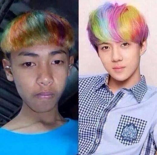 """Trước đây cũng từng có một chàng trai biến tấu tóc """"úp nồi"""" cho hiện đại hơn bằng cách nhuộm cầu vồng như diễn viên Hàn Quốc nhưng kết cục vẫn rất đắng lòng. (Ảnh: Internet)"""