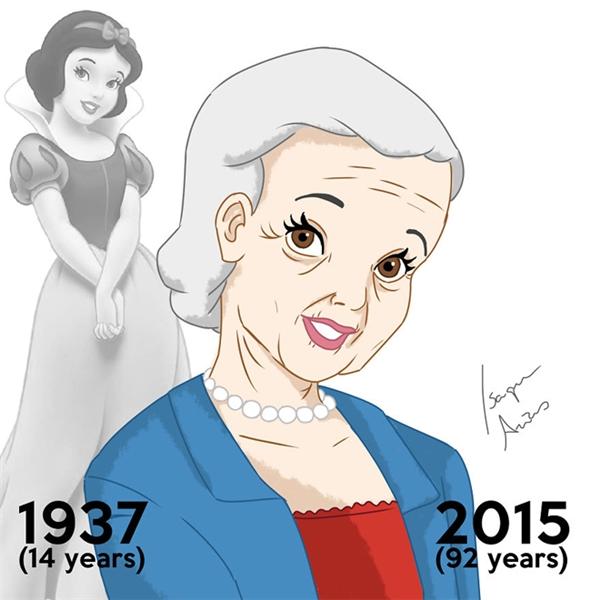 """""""Lão làng""""của hội chị em Disney là nàng Bạch Tuyết. Tuy không còn mái tóc đen như gỗ mun nhưng """"cụ bà"""" Bạch Tuyết cũng vẫn không hề mất đi nét trong sáng, ngây thơ như khi xưa."""
