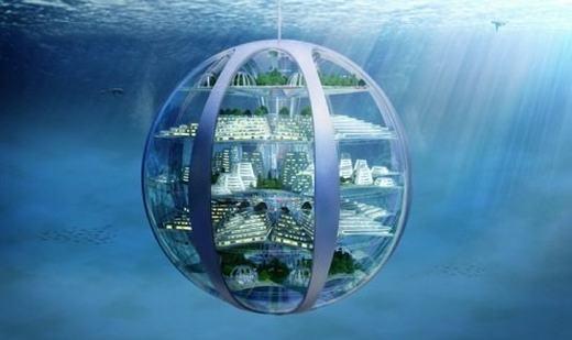 Chúng ta hiện chưa thể sống được dưới nước trong thời gian dài. Nhưng khoảng 100 năm tới, những tòa nhà với các hệ thống có thể chuyển nước mặnthành nước ngọt, tách nước tạo oxy, dùng nước để phát điện... có thể được sử dụng, từ đó cho phép con người sống dễ dàng dưới đáy biển. (Ảnh: Internet)