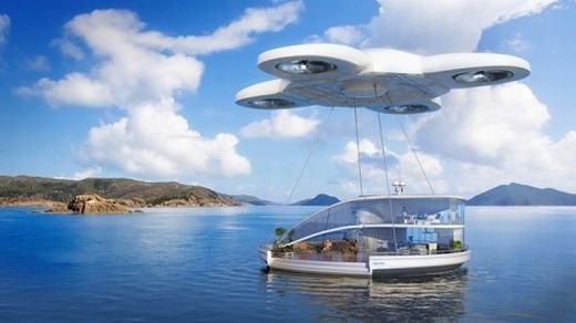 """Nhà của bạn cũng không cố định một chỗ nữa mà có thể bay từ chỗ này qua chỗ khác, thậm chí bạn có thể mang nó theo khi đi du lịch. Vài chục năm nữa, drone sẽ """"tiến hóa"""" để có thể nhấc được cả ngôi nhà của bạn. (Ảnh: Internet)"""