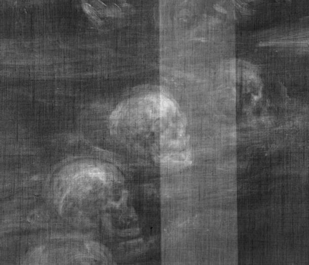 Chi tiết của những hình ảnh đầu lâu tìm thấy trong bức họa của họa sĩ Henry Gillard Glindoni. (Ảnh: National Gallery, London/Wellcome Library )