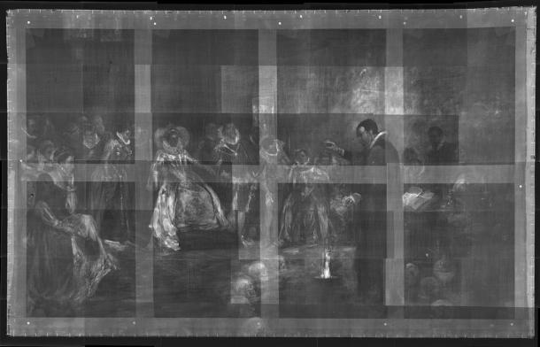 Bản chụp X-quang bức họa của họa sĩ Glindoni cho thấy vòng tròn đầu lâu kì quái bao quanh John Dee. (Ảnh: Royal College of Physicians )
