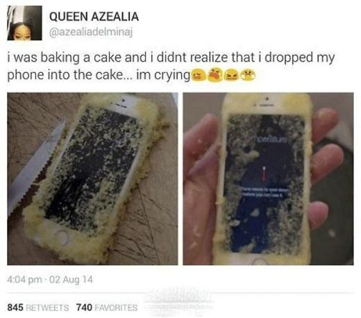 Khi điện thoại trở thành nguyên liệu làm bánh. (Ảnh: Internet)