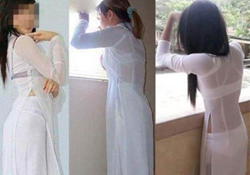 Rất nhiều nữ sinh mặc áo dài cực kì phản cảm. Ảnh: Internet