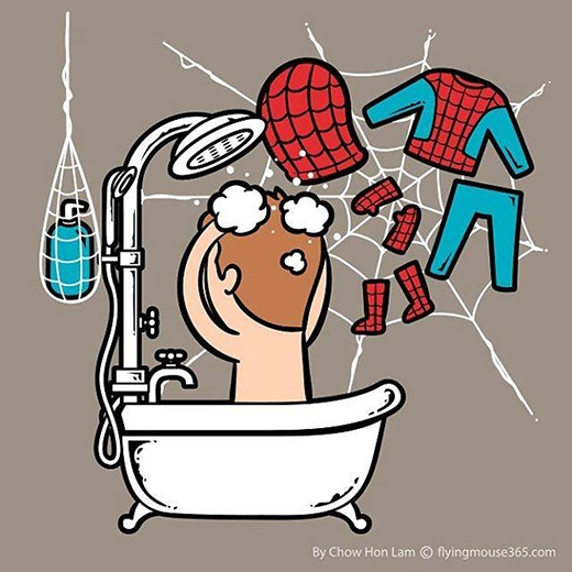Người Nhện không cần mắc áo hay giá để đồ mà chỉ cần tơ nhện thôi. Quả thật rất tiết kiệm không gian. (Ảnh: Chow Hon Lam)