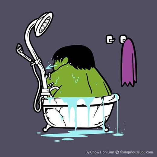 Sao không ai nghĩ đến chuyện sắm bồn tắm cỡ XXL cho bạn Hulk nhỉ? (Ảnh: Chow Hon Lam)