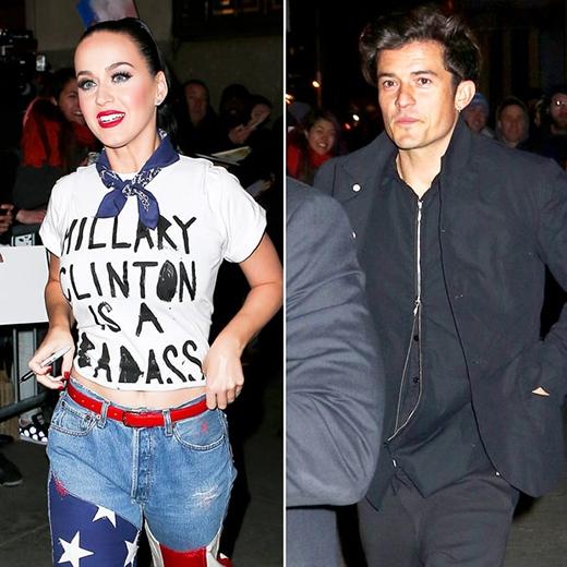 Vào một ngày trước đó, Katy đã có buổi trình diễn tại chương trình gây quỹ Hilary Clinton và Orlando Bloomcũng có mặt để cổ vũ cho người đẹp. (Ảnh: Internet)