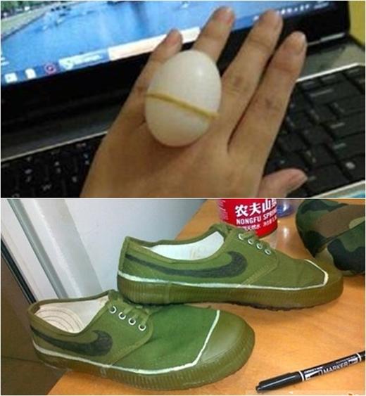 """Nhẫn """"hột trứng"""" và giày thể thao này ăn đứt hột xoàn và mấy đôi giày hiệu """"nhái mẫu"""" bán đầy rẫy ngoài... trung tâm thương mại. (Ảnh: Internet)"""