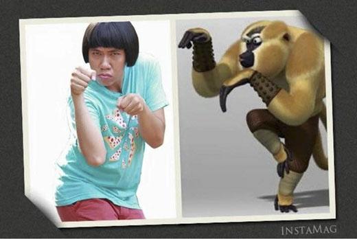 Dáng tập võ của diễn viên Anh Đức cũng bị anh bạn đồng nghiệp mang ra so sánh với chú khỉ nhân vật hoạt hình