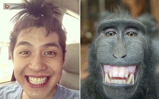 """Noo Phước Thịnh """"khoe răng"""" cùng chú khỉ"""