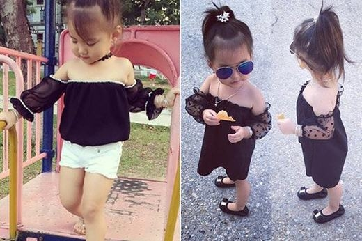 Ngoài quần áo đẹp, bé còn diện những phụ kiện thời thượng và đẹp mắt