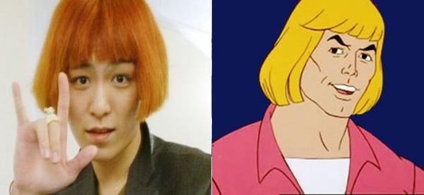 """T.O.P (Big Bang) chỉ cần đội tóc giả vào là giống hệt với He-Man trong phim """"Dũng sĩ He-Man"""""""