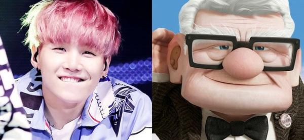 """Suga (BTS) trông… móm mém giống cụ ông trong phim hoạt hình """"UP"""""""
