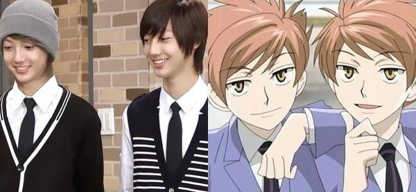 """Cặp sinh đôi Young Min và Kwang Min của nhóm Boyfriend được so sánh với cặp đôi Kaoru và Hikaru của phim hoạt hình """"Ouran High School"""""""