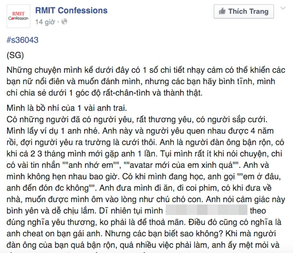 Dòng trạng thái được đăng trên RMIT Confession.
