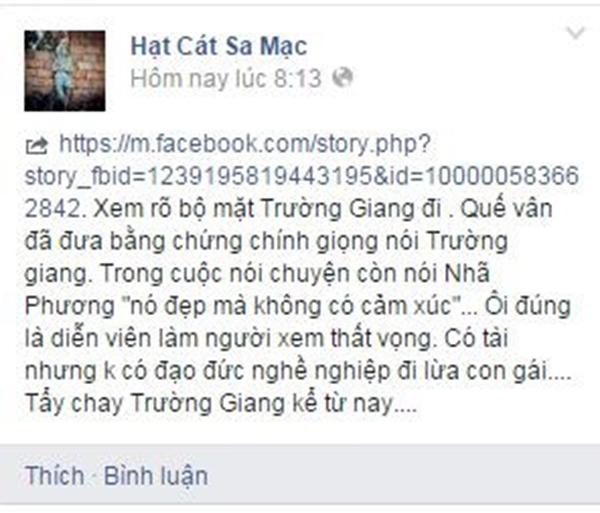 Fan khuyên Nhã Phương bỏ Trường Giang vì lộ file ghi âm với Quế Vân - Tin sao Viet - Tin tuc sao Viet - Scandal sao Viet - Tin tuc cua Sao - Tin cua Sao