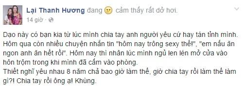 Dòng chia sẻ trên trang cá nhân của người mẫu Thanh Hương. - Tin sao Viet - Tin tuc sao Viet - Scandal sao Viet - Tin tuc cua Sao - Tin cua Sao