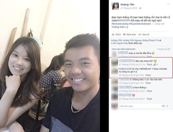 Hơn nửa năm trước, cư dân mạng được dịp xôn xao khi hot girl Hoàng Yến 21 tuổi thường xuyên đăng tải những hình ảnh đi chơi cùng tay vợt trẻ 19 tuổi lên trang cá nhân. (Ảnh: Internet)