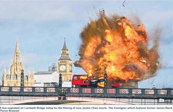 Cảnh cháy nổ trên phim trường The Foreigner tại Luân Đôn