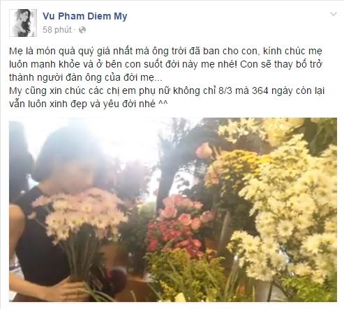 Nữ diễn viên xinh đẹp Diễm My 9x bày tỏ tình cảm và lòng biết ơn đến người mẹ kính yêu của cô. Đồng thời, cô cũng gửi lời chúc vui vẻđến các chị em phụ nữ trên toàn thế giới. - Tin sao Viet - Tin tuc sao Viet - Scandal sao Viet - Tin tuc cua Sao - Tin cua Sao