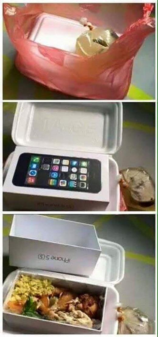 Iphone chỉ để ngắm, còn cơm mới thấm được dạ dày. (Ảnh Internet)