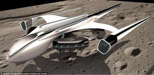 """Còn đây là chiếc xe tự hành trên Mặt trăng, được thiết kế bởi kiến trúc sư Miloje Krunic, cho phép con người có thể di chuyển dễ dàng trên đó. Đồng thời, nó cũng giúp con người lên xuống Mặt trăng/Trái đất như """"đi chợ""""."""