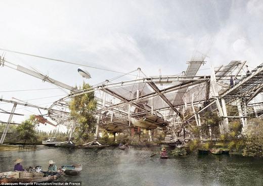 Còn đây là công trình của kiến trúc sư Mỹ Gabriel Munoz-Moreno. Công trình này có tác dụng trong việc đối phó với mực nước biển đang tăng lên. Khi nước dâng cao, công trình này cũng nổi lên theo.