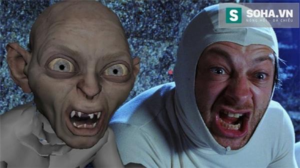 Hình ảnh nhân vật Gollum trong quá trình thực hiện bằng CGI.