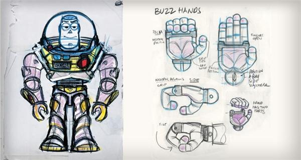 Bước đầu dựng nên nhân vật Buzz Lightyear trước khi qua xử lý CGI.