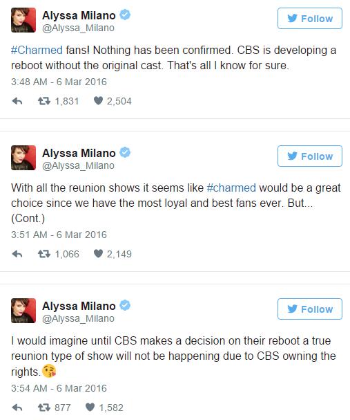 Alyssa Milano tiết lộ đài CBS đang lên kế hoạch thực hiện phần mới nhưng không có dàn diễn viên cũ