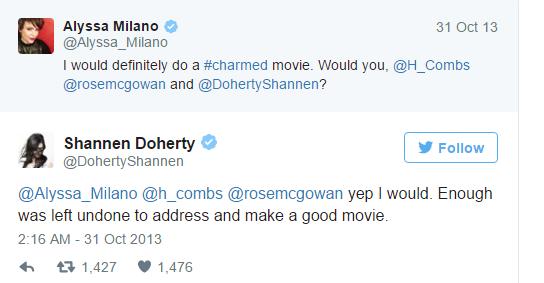 Hồi năm 2013, Alyssa Milano từng đề xuất ý tưởng thực hiện phim điện ảnh và Shannen Doherty cũng đồng tình