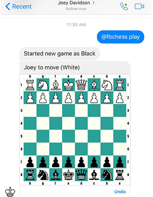 Bạn có thể thách đấu cờ vua với bạn bè của mình thông qua giao diện tin nhắn. Chỉ cần gõ vào @fbchess play và gửi, bạn đã có thể chơi cờ vua cùng bạn bè mình. (Ảnh: Internet)