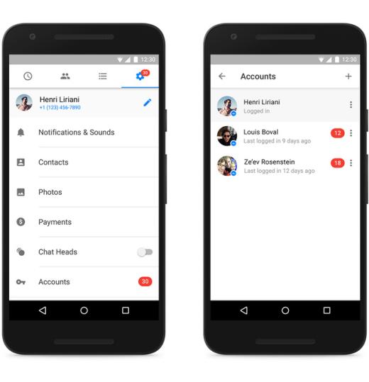 """Trên Facebook Messenger hiện tại, bạn đã có thể chuyển đổi nhiều tài khoản mà không cần phải đăng xuất ứng dụng Facebook như trước. Để dùng tính năng này, bạn vào phầnCài đặt >Tài khoản,chọn nút hình dấu """"+"""" ở góc trên bên phải rồi đăng nhập vào tài khoản Messenger mà bạn muốn thêm. (Ảnh: Internet)"""
