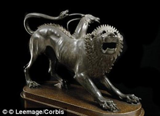 Loài quái vật lai Chimaera trong truyền thuyết Hy Lạp: đầu sư tử phun ra lửa, mình dê và đuôi rắn. (Ảnh: Internet)